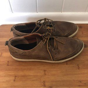 ECCO Lace-Up Brown Leather Sneakers Size 47 EU